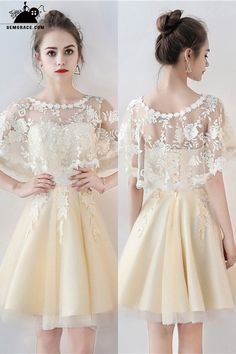 Shop Champagne Tulle Short Party Dress with Lace Cape Sleeves online. SheProm offers formal, party, casual & more style dresses to fit your special occasions. Modest Homecoming Dresses, Modest Dresses, Cheap Dresses, Sexy Dresses, Dress Outfits, Evening Dresses, Short Dresses, Fashion Dresses, Night Outfits