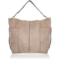 River Island Pale pink contrast panel slouch handbag ($53) ❤ liked on Polyvore…