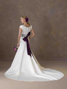 Wedding Dress With Purple Sash - Wedding and Bridal Inspiration Wedding Dress Sash, Wedding Dresses, Womens Fashion, Female Fashion, Bridal, Purple, Inspiration, Shopping, Wedding Ideas