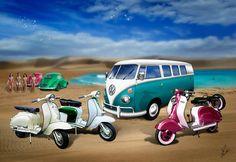 A classic Volkswagen Split Screen Camper Van & a VW Beetle Bug are seen here in a beach scene. Also featuring Lambretta & Vespa motor scooters.