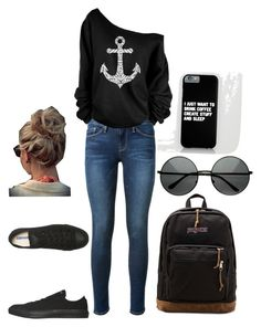 """""""Back to the basics"""" by chena1213 ❤ liked on Polyvore featuring Frame Denim, Converse and JanSport"""