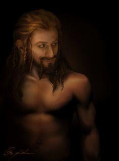 A shirtless Fili by aegilief on deviantart ~  Whew!  I hope she does Thorin too!  AAHHHHHHH!!!!! *swoon*
