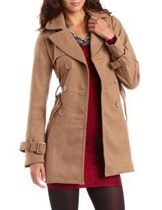 Belted Wool-Blend Trench Coat: Charlotte Russe