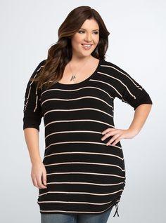 Striped Side Cinch Tunic Top, DEEP BLACK