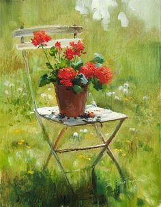 'Geraniums on a chair' - by Serguei Toutounov Art Floral, Flower Vases, Flower Art, Watercolor Flowers, Watercolor Paintings, Red Geraniums, Garden Painting, Still Life Art, China Painting
