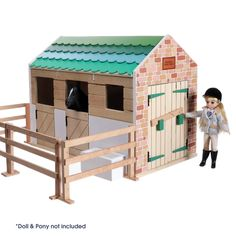 Wooden toy stables from Lottie dolls, removeable roof, half door, tack room, drinking trough and fences.