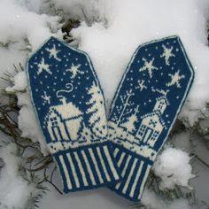 Ravelry: Winterland/Vinterland pattern by Wenche Roald, beautiful, pattern 6 USA dollar on Ravelry Knitted Mittens Pattern, Knit Mittens, Knitted Gloves, Knitting Socks, Hand Knitting, Blue Mittens, Wrist Warmers, Hand Warmers, Knitting Charts