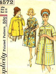 Vintage Robe Duster Smock Pattern Simplicity 4572 by TheSewingGin, $7.00