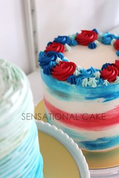 watercolor Red, white and blue buttercream Fourth Of July Cakes, Fourth Of July Food, Patriotic Desserts, 4th Of July Desserts, Cupcakes, Cupcake Cakes, Holiday Cakes, Holiday Desserts, Birthday Cake Singapore