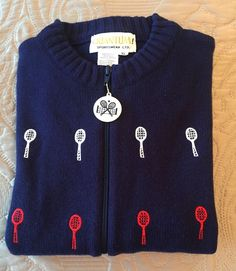 Quantum! Sportswear Navy Zip Front Cardigan with Embroidered Tennis Design XL #Quantum #Cardigan