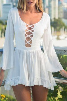 Wheretoget - White criss-cross long-sleeved boho summer dress