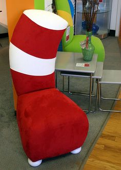 OMG! I'd KILL for this chair. Well, not really KILL, but at least trade my best pair of high heels for it.   This would make an awesome chair for a Dr. Seuss classroom!