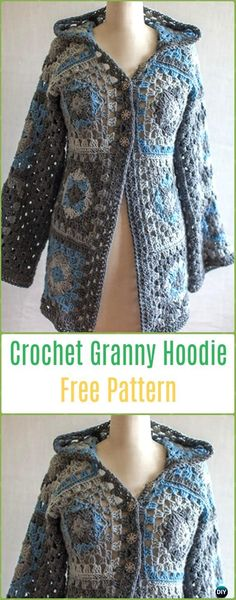 Discover thousands of images about Crochet Granny Hoodie Free Patterns - Crochet Granny Square Jacket Coat Free Patterns Crochet Hoodie, Crochet Coat, Crochet Cardigan Pattern, Granny Square Crochet Pattern, Crochet Jacket, Crochet Granny, Crochet Shawl, Crochet Clothes, Crochet Patterns