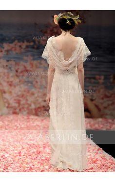 Klassisches & Zeitloses Wasserfall Ausschnitt Ärmelloses Drapiertes A-Linie Chiffon Bodenlanges Brautkleid