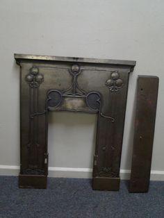 Cast Iron Art Nouveau Arts & Crafts Fireplace Insert Cover