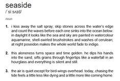 dictionary poem viii: seaside // t.e.