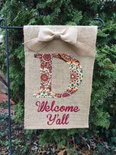Burlap Garden Flag  Welcome Y'all with by palmettostitchco on Etsy, $22.00