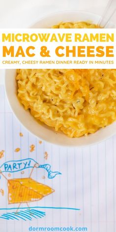 Creamy, cheesy ramen dinner ready in minutes.  #Microwave #Microwavecooking #College #Collegelife #Dormroomcook Mac And Cheese Microwave, Easy Microwave Recipes, Easy Mac And Cheese, Cheese Recipes, Cooking Recipes, Meal Recipes, Quick Recipes, Dinner Recipes