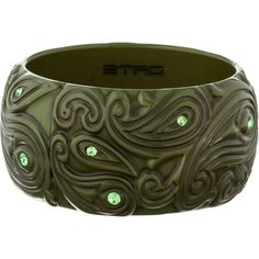 Pre-owned Etro Resin Cuff ($75) ❤ liked on Polyvore featuring jewelry, bracelets, green, pre owned jewelry, etro jewelry, etro, green jewelry and cuff bangle