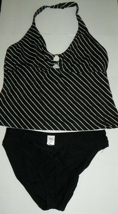 381171a2fbe Black and White Striped 2 Piece Tankini Bikini Swimsuit Beach Diva Size  12 14