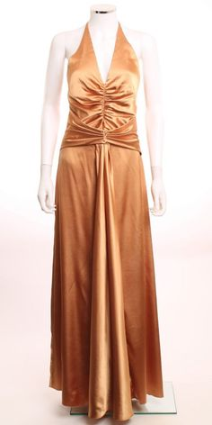 JESSICA MCCLINTOCK RUCHED HALTER BODICE  A-LINE SKIRT COPPER FORMAL DRESS SZ 06 #JessicaMcClintock #Formal $15.00