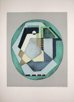 Mario Radice - Composizione astratta verde - Litografia a colori