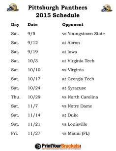 Printable Pittsburgh Panthers Football Schedule 2015