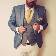 #suit #doublebreasted #vest #knit #tie #pocketsquare #blue #yellow #3pieces #bespoke #shirt #instafashion #instadaily #dappermen #dapper #3pieces #lego #cufflinks #ootd #ootdmen #luxembourg #blogger_lu #lookoftheday #outfitoftheday #ootdmen #ootd #gentleman