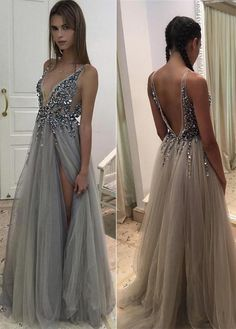 64b93368cf Sexy Vneck Beaded Tulle With Side Slit Prom Dresses P632 - Ombreprom  Sleeveless Dresses