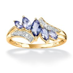 .66 CT TW Tanzanite and Diamond Accent Ring in 18k Gold over Sterling Silver