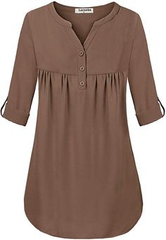 Larenba Casual T-Shirts for Women, Juniors Wear to Work Tops Long Sleeve Notch Neck Chiffon Blouses for Office Button Down Shirts(Mocha,Large) Stylish Dresses For Girls, Stylish Dress Designs, Blouse Styles, Blouse Designs, African Blouses, Kids Dress Wear, Mein Style, Kurti Designs Party Wear, Mode Hijab