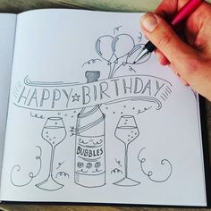 Workshop 5 en 20 april www. 80th Birthday Cards, Bday Cards, Diy Birthday, Birthday Wishes, Birthday Letters, Birthday Celebration, Happy Birthday Doodles, Happy Birthday Drawings, Birthday Card Drawing