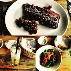 Spareribs mit saisonalen Salat & Mangoshot