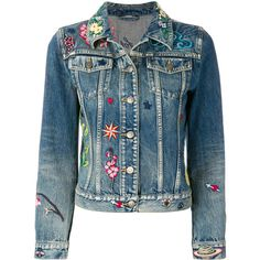 Gucci embroidered denim jacket (£1,985) ❤ liked on Polyvore featuring outerwear, jackets, blue, animal print jacket, embroidered jean jacket, embroidered jackets, long sleeve jacket and jean jacket