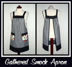 Gathered Smock Apron - Black Gingham- PLUS SIZE (tall).  I like this loose style.