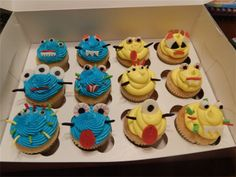 Monster blue and yellow cupcakes