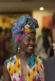 In the headwraps became a central accessory of Black Power's rebellious uniform. Headwrap, like the Afro, challenged accepting a style once used to shame African-Americans. African Attire, African Wear, African Women, African Dress, African Style, African Fabric, Ankara Fabric, African Prints, African Inspired Fashion