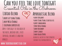 "The 5 Best Essential Oils for a Diffuser You Must Have : ""Can You Feel The Love Tonight"" - Essential Oil Blends in the Bedroom: It is a romantic time of year and what better way to celebrate your love than with essential oils? Essential Oil Aphrodisiac, Essential Oil Perfume, Essential Oil Uses, Doterra Essential Oils, Young Living Essential Oils, Patchouli Essential Oil, Yl Oils, Perfume Oils, Roller Bottle Recipes"