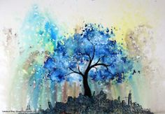 love the blue watercolors