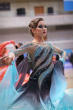 blue ballroom dance dress