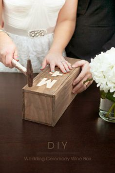 Use this very detailed, step by step tutorial to create your personalized wedding ceremony wine box ~ such a fun new tradition! Wedding Ceremony Ideas, Wine Box Ceremony, Unity Ceremony, Diy Wedding, Rustic Wedding, Dream Wedding, Star Wedding, Wedding Crafts, Wedding Couples