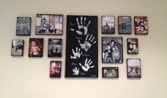 Couple ideas from Pinterest (DIY canvas pictures & handprints) put together for our own family wall gallery =)