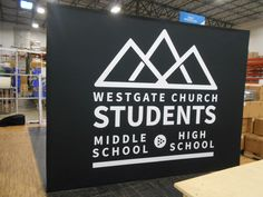 This fabric pop-up display creates a beautiful backdrop in your church lobby or ministry space! Church Interior Design, Church Design, Church Lobby, Portable Display, Camping Signs, Youth Ministry, Pop Up, Backdrops, Life Hacks