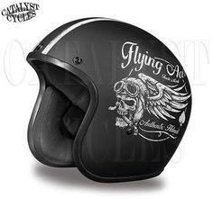 3/4 Motorcycle Helmet Flat Black Open Face Helmet Daytona Cruiser Flying Aces