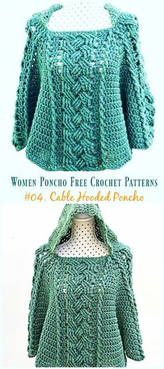 Cable Hooded Poncho Crochet Free Pattern Video Tutorial – Women Free Patterns See other ideas and pictures from the category menu…. Free Form Crochet, Crochet Shawl Free, Crochet Cable, Crochet Poncho Patterns, Knitting Patterns, Crochet Hats, Scarf Patterns, Crochet Sweaters, Knitted Shawls