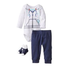 This versatile pant set from Vitamin Kids has three easy pieces that can dress your little one. The bodysuit has been designed with an envelope neck which will slip easily over your baby's head without stretching out of shape. It is white and features a l