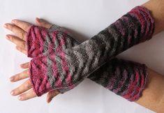 Fingerless Gloves Black Gray Pink Purple wrist by Initasworks