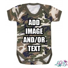 Personalised Camo Baby Grow from Lulah Blu. Add your own art work and text to a baby grow, we have all sizes from Newborn to 2 years. Unique Baby Clothes, Camo Baby Stuff, Baby Grows, Newborn Gifts, Outfit Sets, Shirt Sleeves, Camouflage, Baby Shower Gifts, Rompers