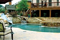 Pool Designs With Slides pool design with spa spillover and slide - google search | pool