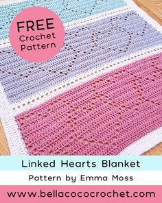 FREE Crochet Blanket Pattern designed by Emma Moss from - Crochet Afghan + Blankets - Crochet Afghans, Crochet Patterns Filet, Crochet Heart Blanket, Crochet Patterns For Beginners, Filet Crochet, Crochet Baby, Kids Crochet, Crochet Blankets, Free Baby Crochet Patterns